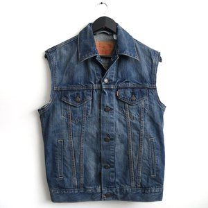 LEVI'S Jayden Trucker Cut Off Flared Denim Vest Men's Medium Wash